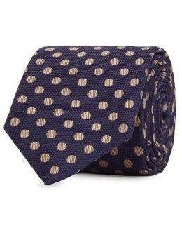 Navy Polka Dot Jacquard Silk Tie