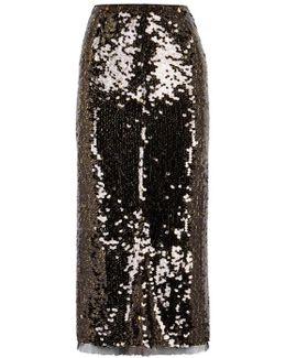 Sasha Two-tone Sequinned Pencil Skirt