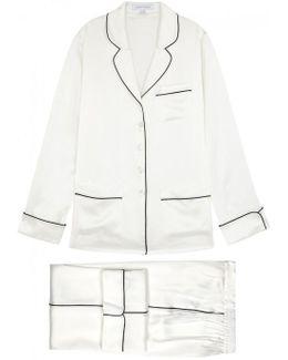 Coco White Silk Satin Pyjama Set