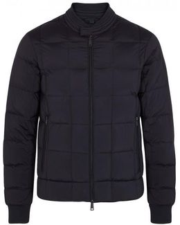 Navy Quilted Shell Bomber Jacket