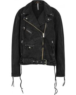 Moto Black Oversized Denim Jacket