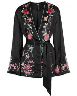 Black Floral-embroidered Satin Jacket
