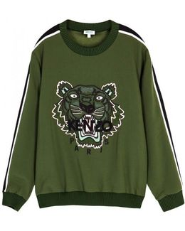 Tiger-embroidered Crepe Sweatshirt
