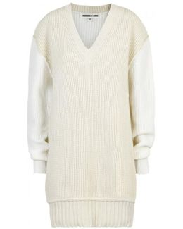 Two-tone Chunky-knit Jumper Dress