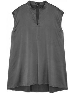 Grey Silk Satin Blouse