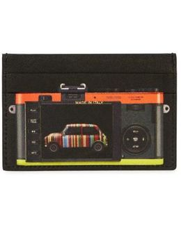 Printed Saffiano Leather Card Holder