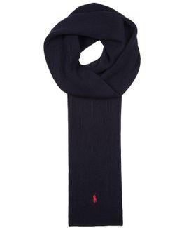 Navy Ribbed Wool Scarf