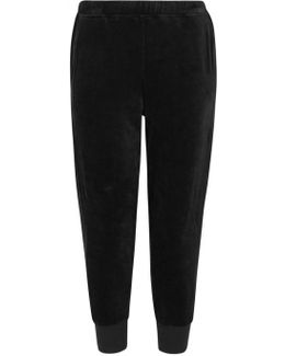 Black Cropped Velour Jogging Trousers
