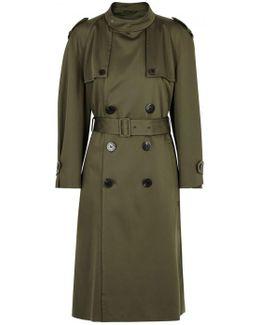 Dark Olive Satin Trench Coat