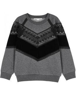 Grey Panelled Cotton Blend Sweatshirt