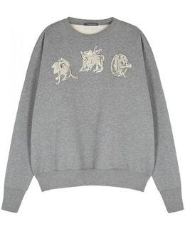 Grey Mythical-embroidered Sweatshirt