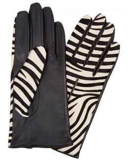 Printed Calf Hair And Leather Gloves