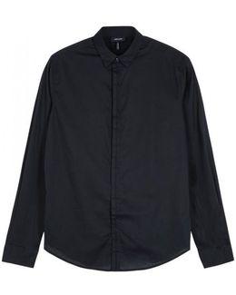Midnight Blue Slim Poplin Shirt