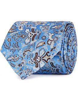 Blue Floral-jacquard Silk Tie