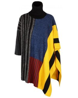 Panelled Wool Blend Poncho