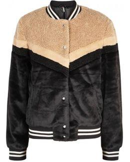 Panelled Faux Fur Bomber Jacket