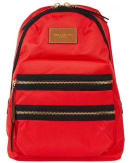 Red Zipped Nylon Backpack