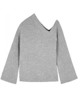 Grey Off-the-shoulder Wool Blend Jumper