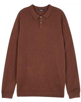 Burnt Orange Wool And Silk Blend Polo Shirt