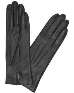 Black Silk-lined Leather Gloves