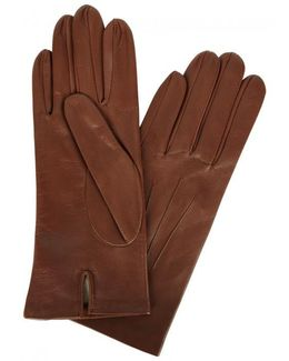 Chestnut Brown Silk-lined Leather Gloves