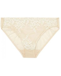 Embrace Lace Nude Embroidered Tulle Briefs