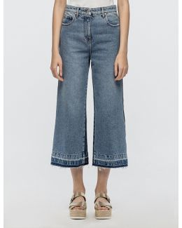 Two Tone Wide Leg Denim Crop Pant