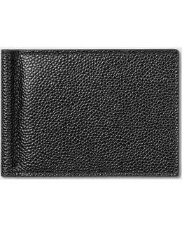 Pebble Grain Leather Money Clip Wallet