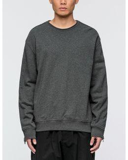 Roll Edge Crewneck Sweatshirt With Zipper