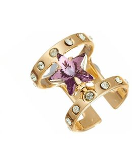 Encrusted Star Midi Ring Gold