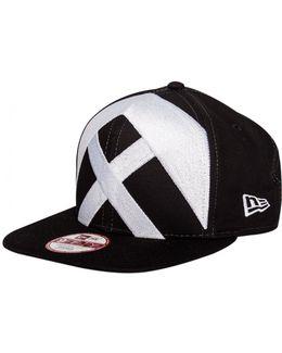 New Era Patterned Front Snapback Cap Black/white
