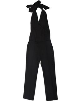 Tie Neck Plunge Jumpsuit Black