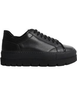 Leather Platform Sneakers Black