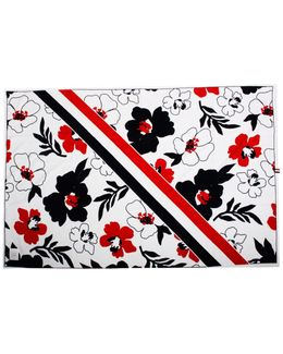 Floral Beach Towel White
