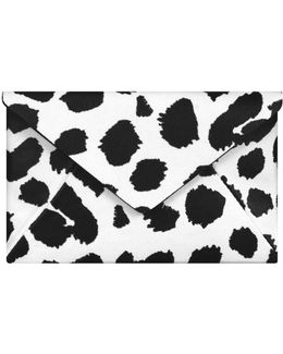 Leather Leopard Print Purse White & Black