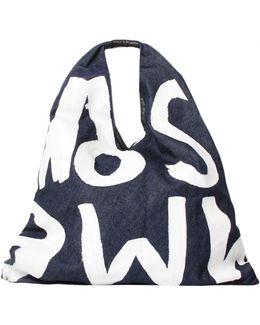 Mm6 Denim Graphic Print Bag Blue