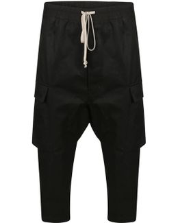 Drawstring Cropped Cargo Trousers Black