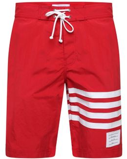 Bar Stripe Swim Shorts Red