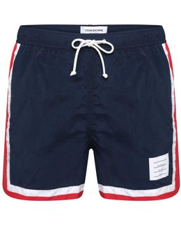 Stripe Swim Tech Trunk Navy
