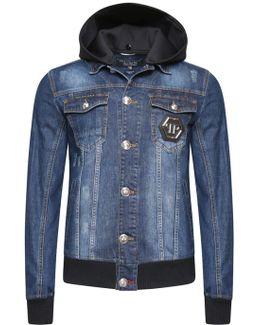 Hooded Denim Jacket Stone Blue