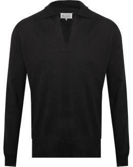Open Neck Polo Shirt Black