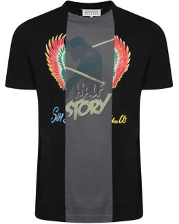 Cut & Sew Graphic Print T-shirt Black