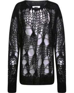Loose Knitted Mohair Jumper Black