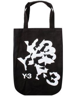 Canvas Cracked Logo Shopper Bag Black
