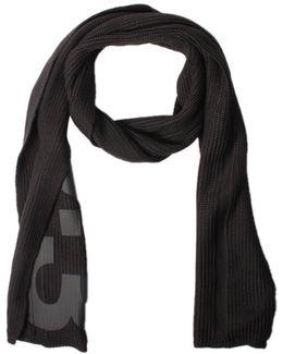 Knitted Rib Logo Scarf Black