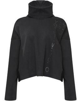 Graphic Cropped Turtleneck Sweatshirt Black