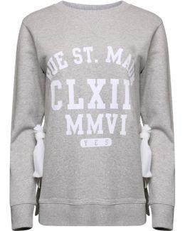Side Slit Varsity Sweatshirt Grey