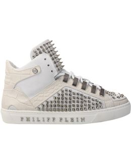 'grady' Hi-top Studded Sneakers White