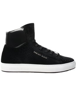 'roman' Hi-top Velvet Sneakers Black