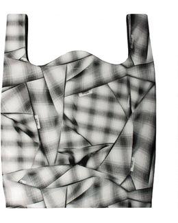 Plaid Print Tote Bag Grey